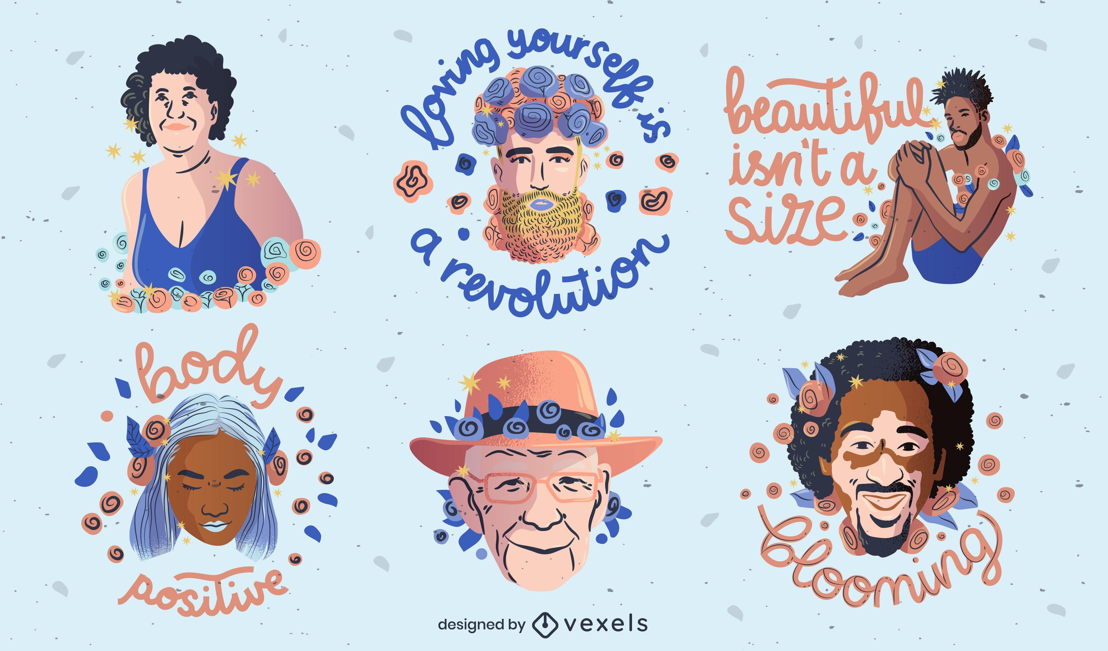 Conjunto de insignias de positividad corporal inclusiva
