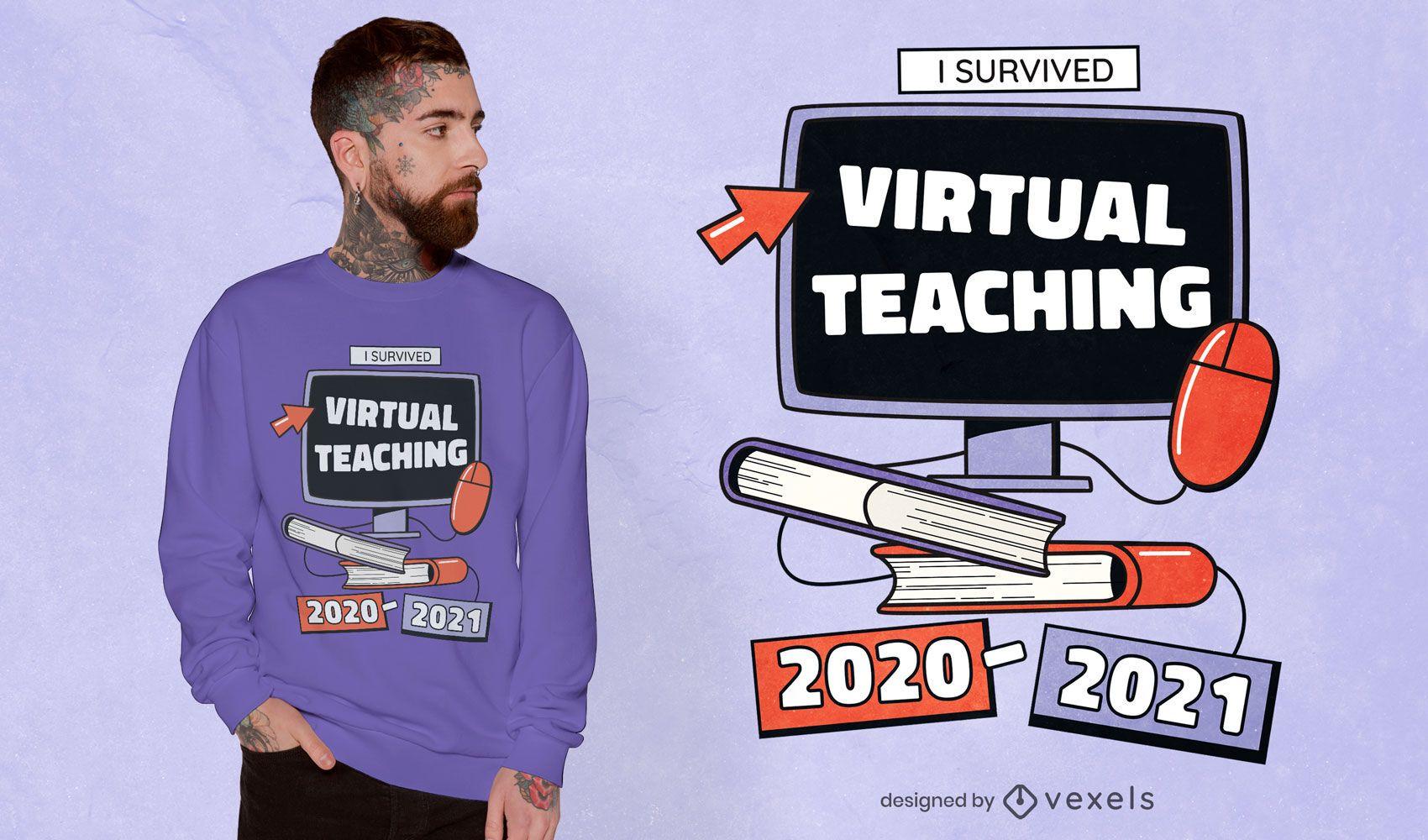 Diseño de camiseta de cita de enseñanza virtual.