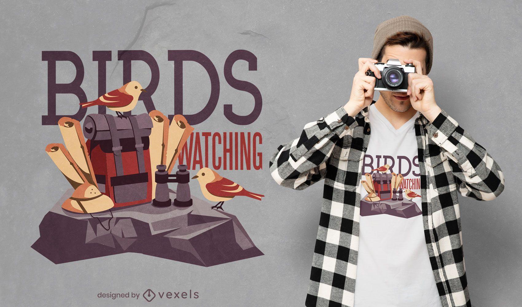 Diseño de camiseta de observación de aves.