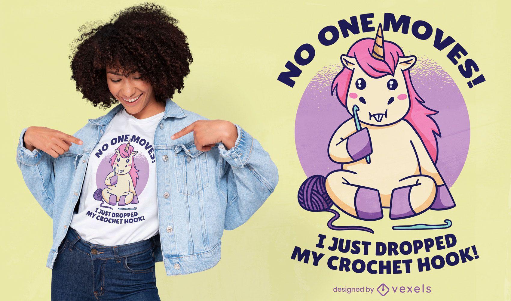 Design engraçado de camiseta de crochê de unicórnio