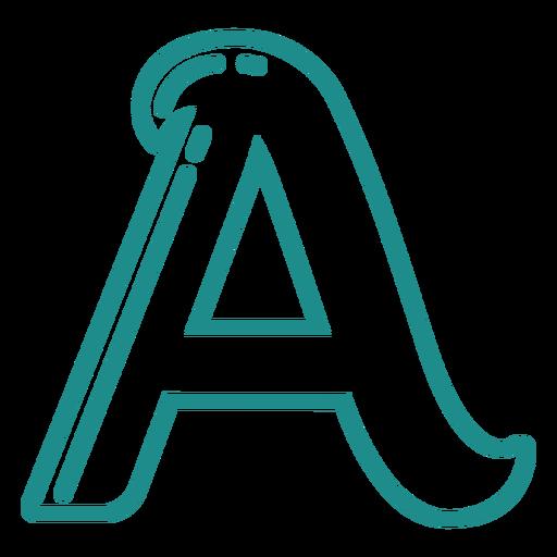 Curly A stroke alphabet