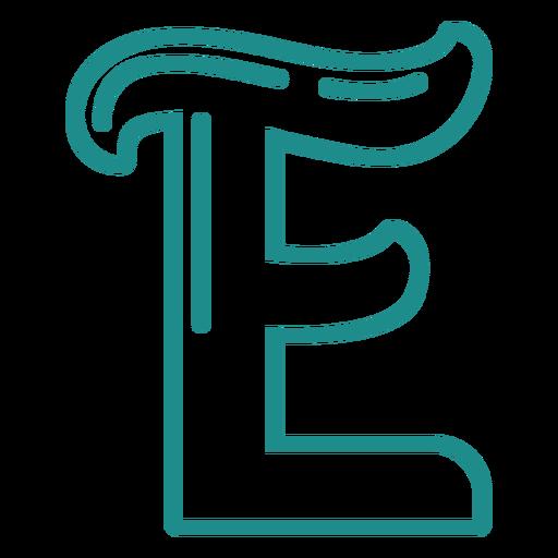 Curly E stroke alphabet