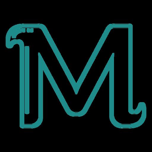 Curly M stroke alphabet