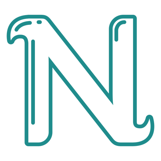 Curly N stroke alphabet