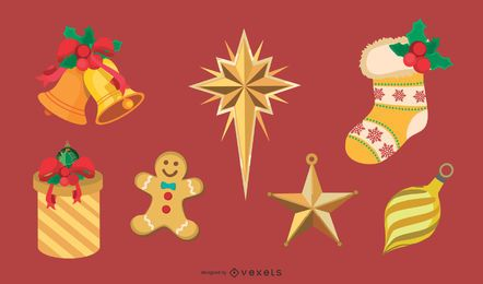 Golden Christmas Design Elements Vector