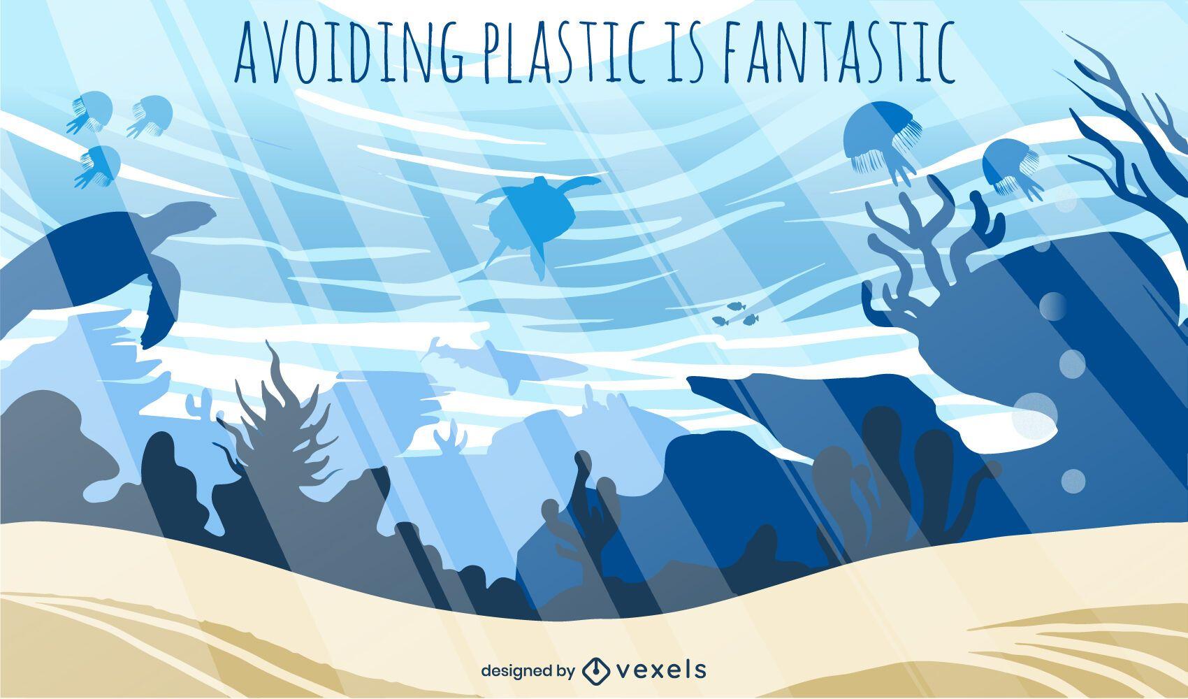 Unterwasser Ozean Strand Hintergrunddesign
