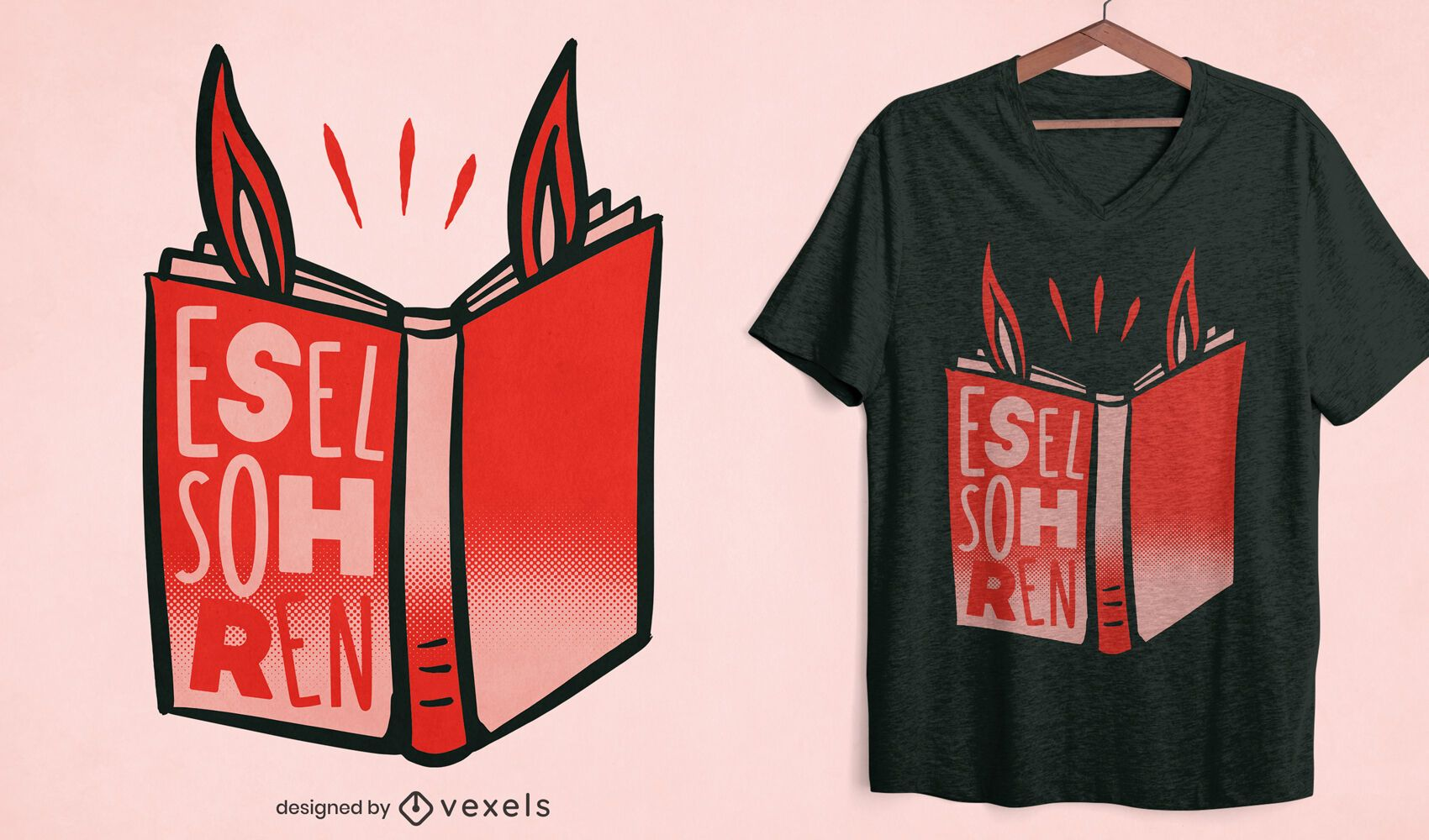 Book with donkey ears t-shirt design