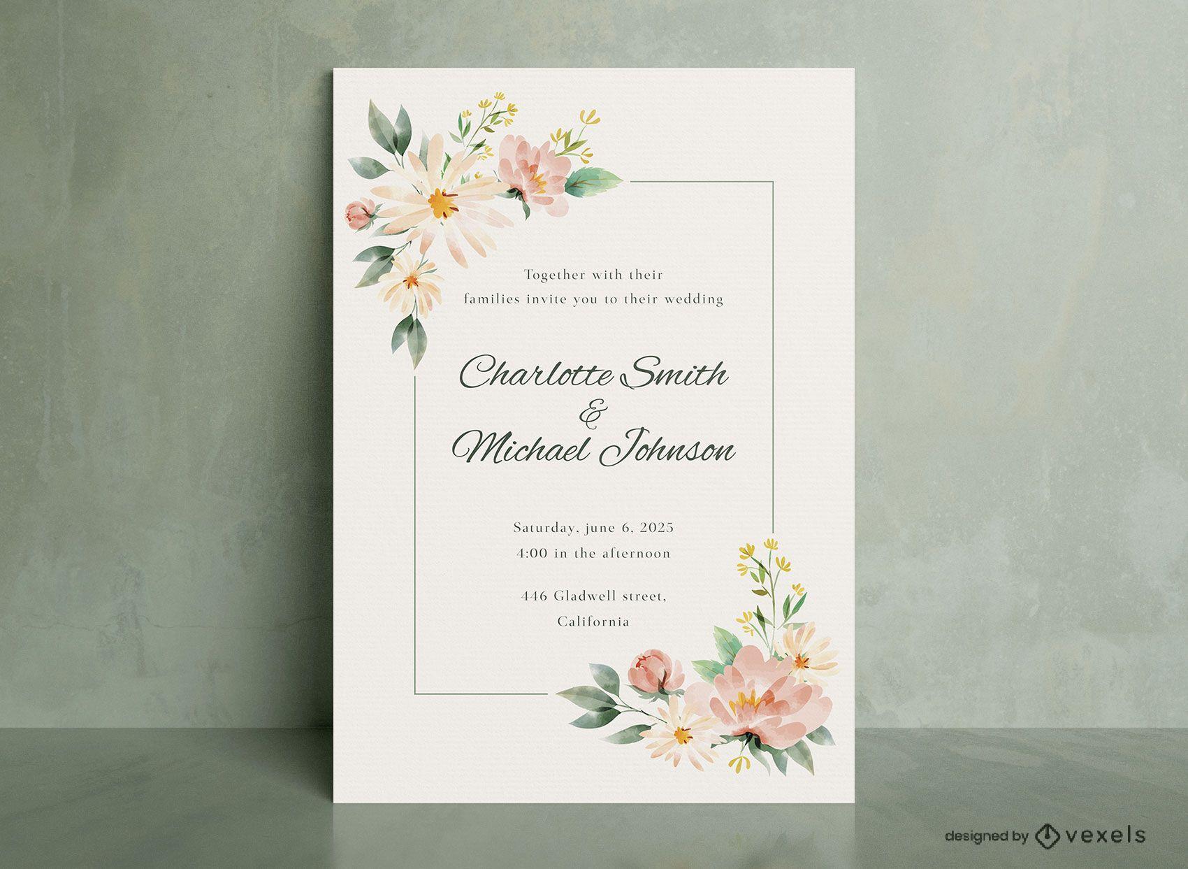 Invitación de boda flores acuarela