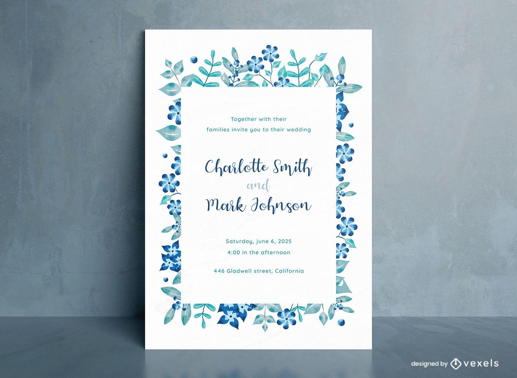 Projeto de convite de casamento de flores azuis