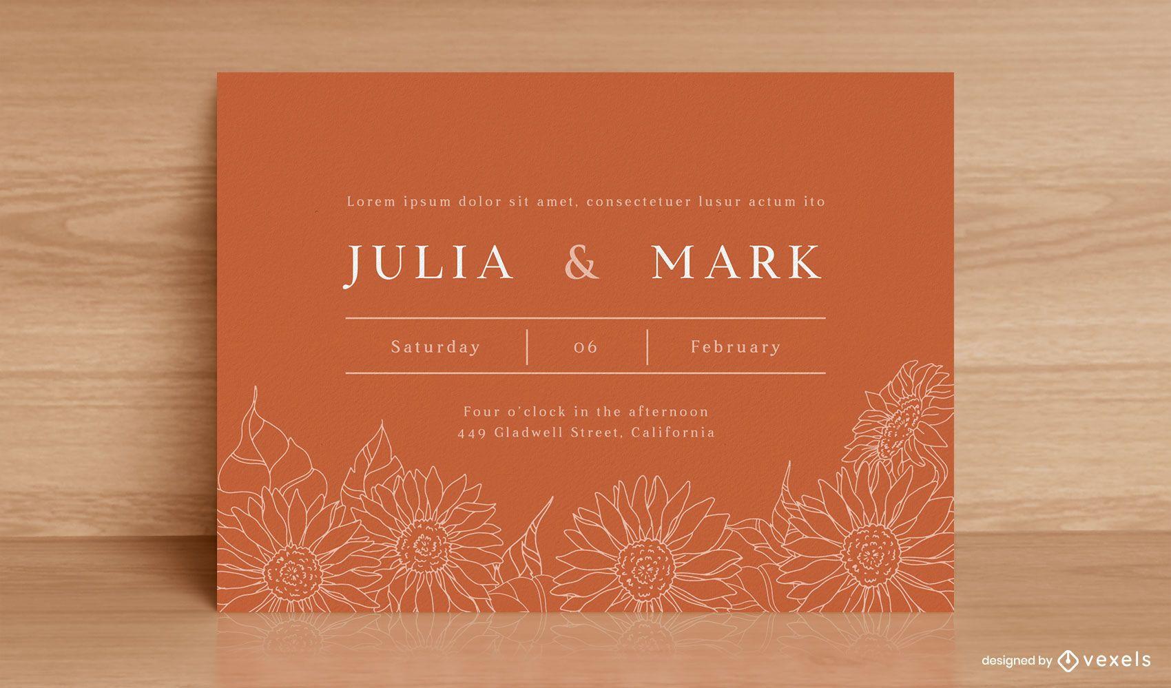 Diseño de invitación de boda de girasoles de arte lineal