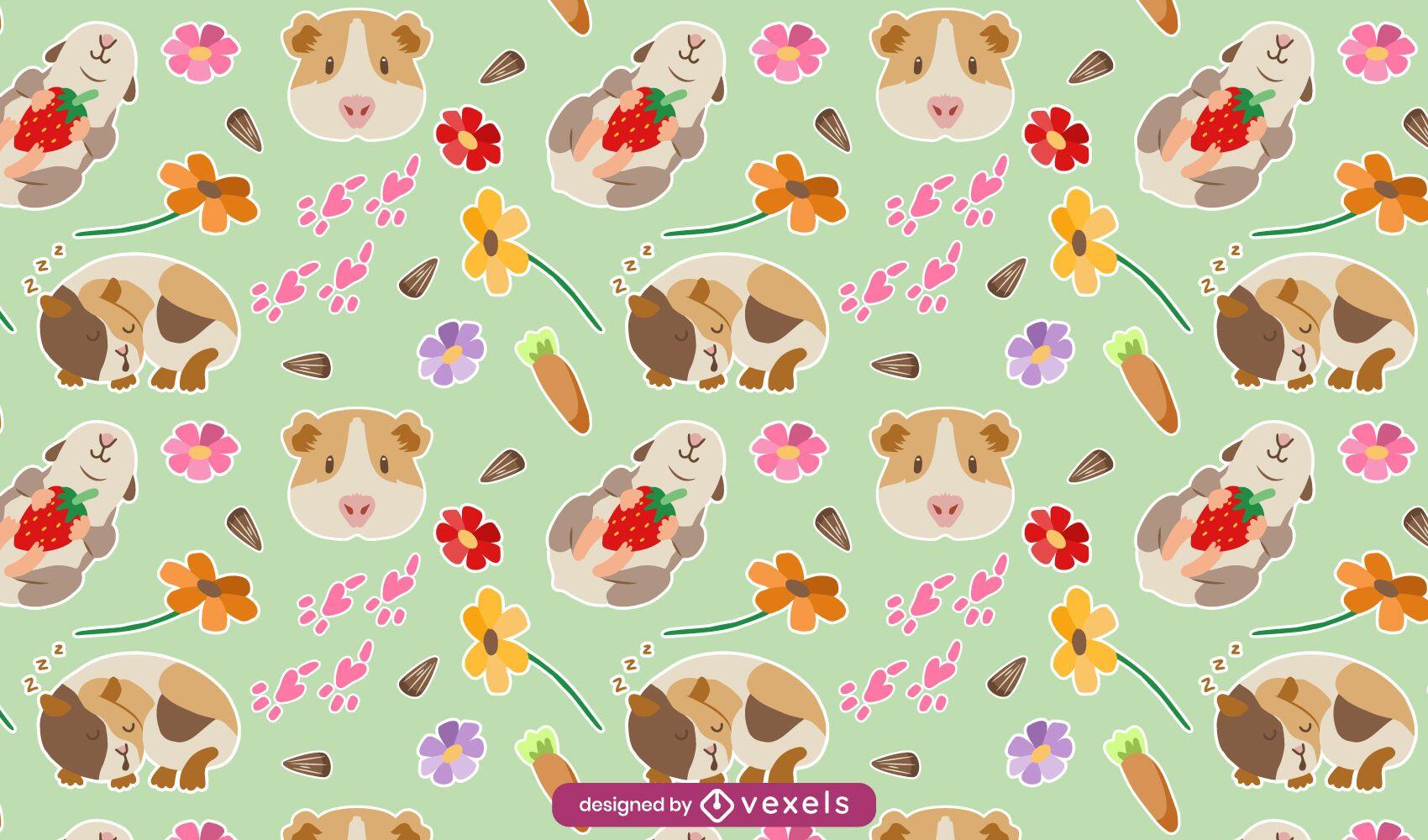 Diseño de patrón lindo conejillo de indias