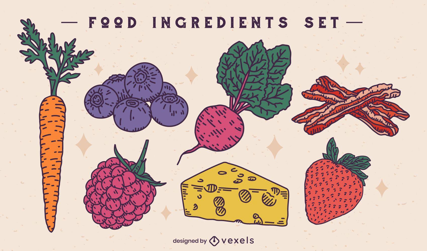 Conjunto de ilustración de ingredientes alimentarios básicos