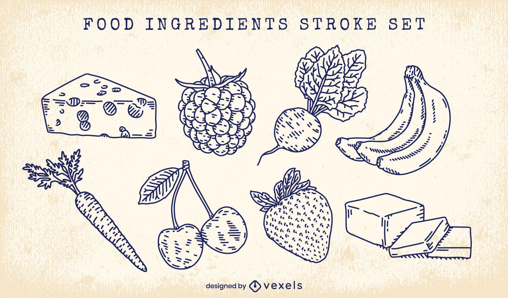 Conjunto de trazos de ingredientes alimentarios básicos