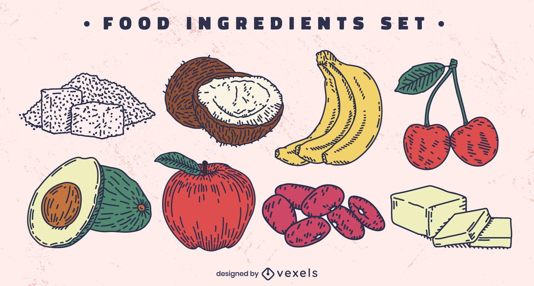 Conjunto de ingredientes alimentarios dibujados a mano de color