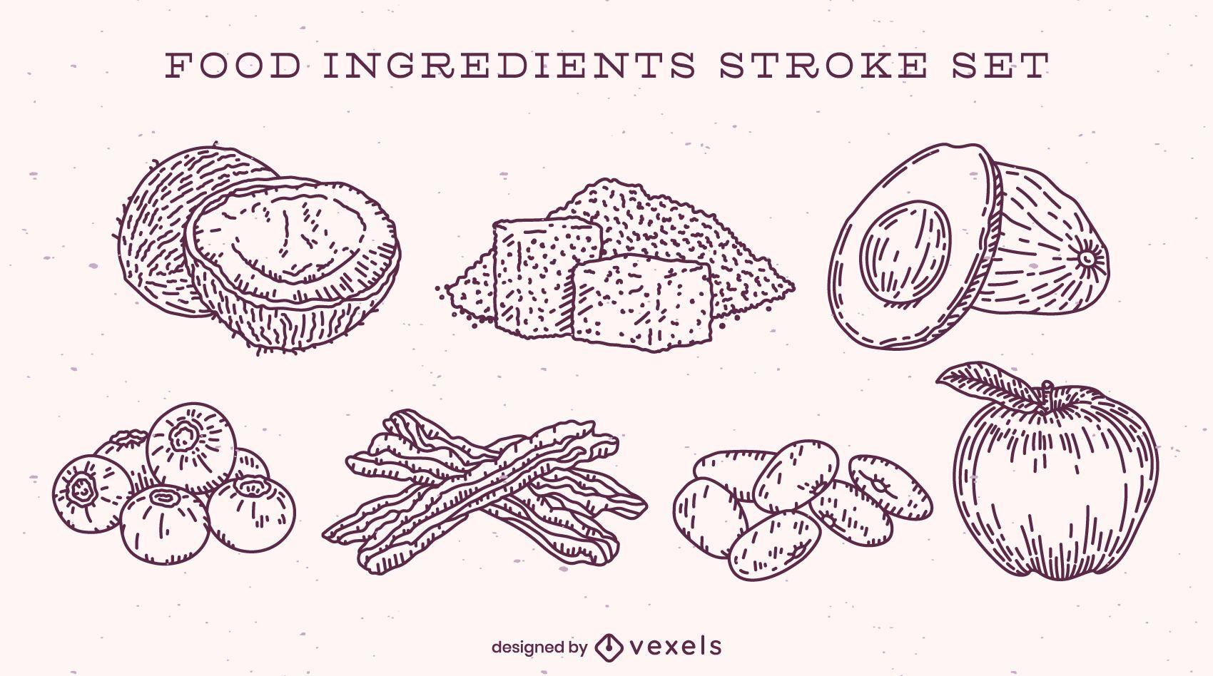 Conjunto de ingredientes alimentarios dibujados a mano simple