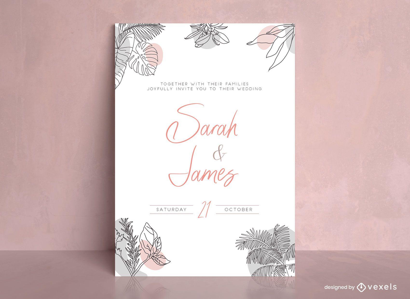 Plantilla de invitación de boda con hojas abstractas orgánicas