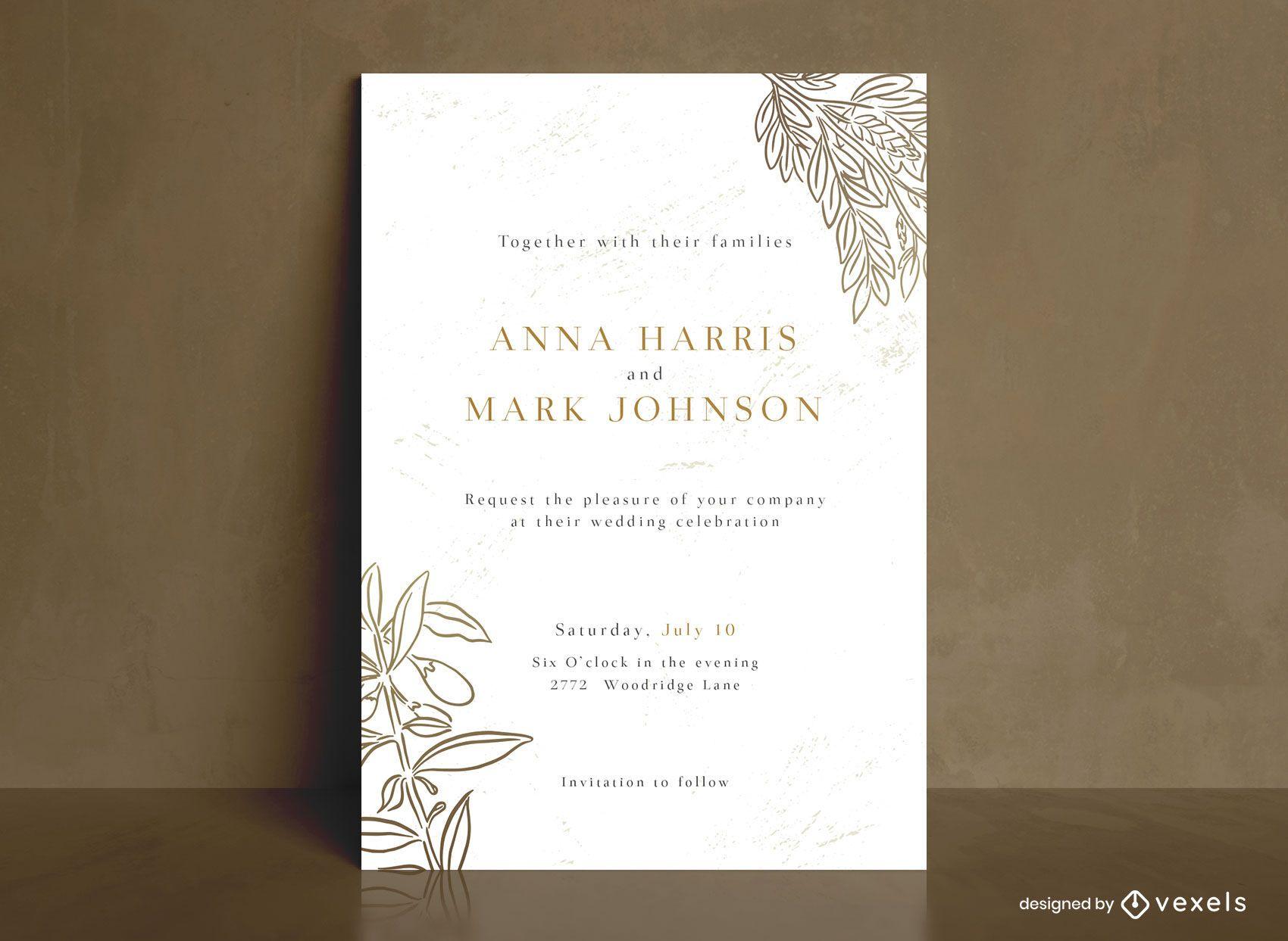 Plantilla de invitación de boda de arte de línea de hojas