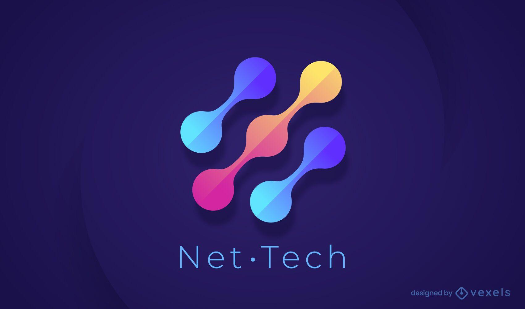Logotipo gradiente abstrato de serviços de TI
