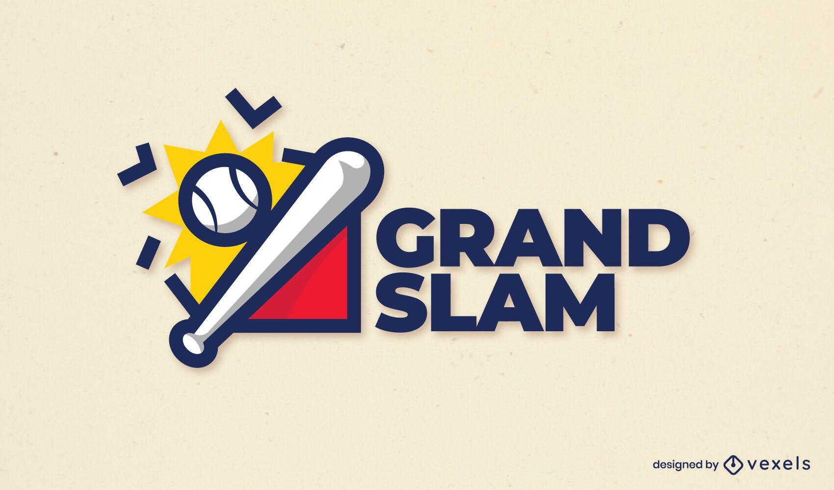 Diseño de logotipo de trazo de color de béisbol
