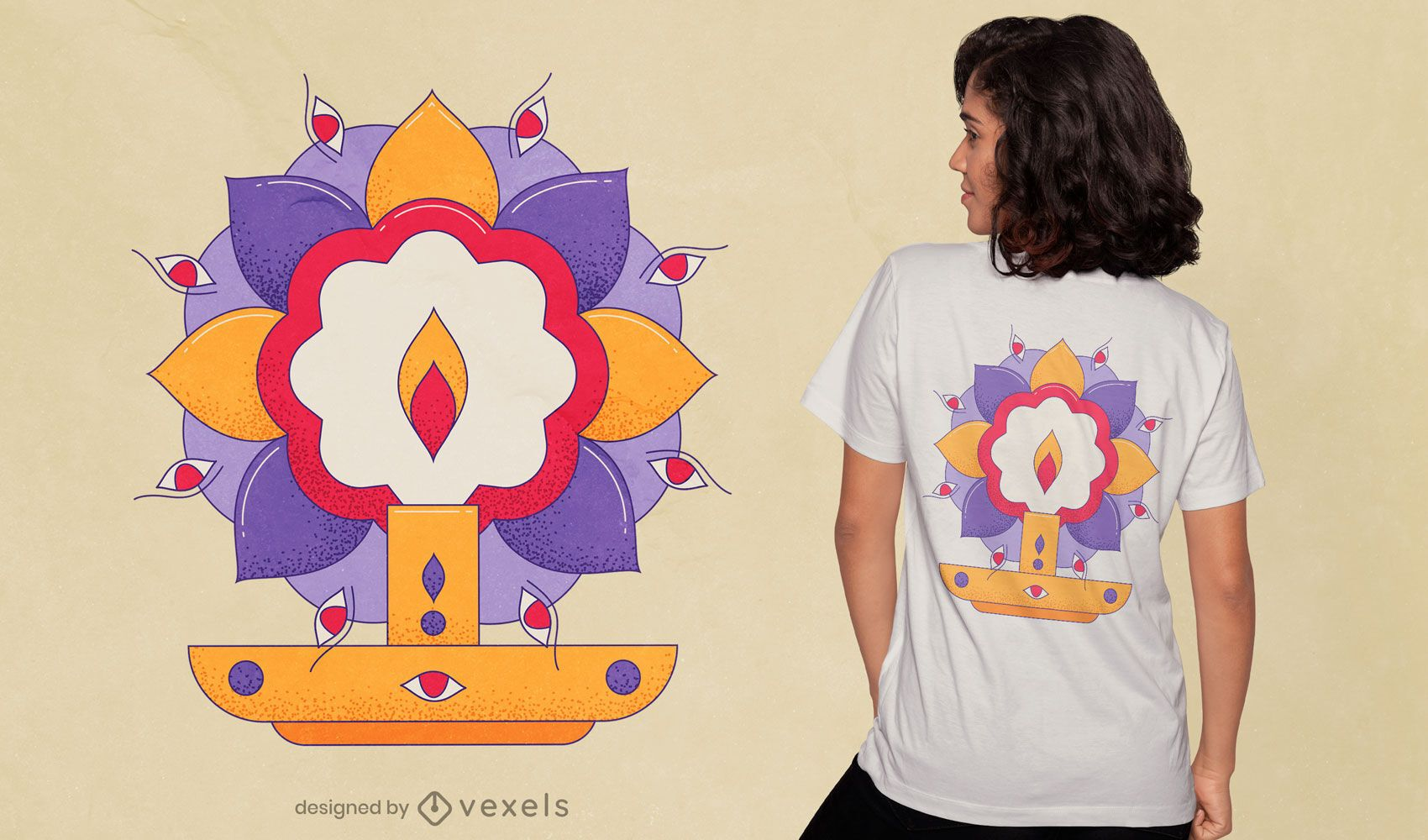Diseño de camiseta Durga Puja