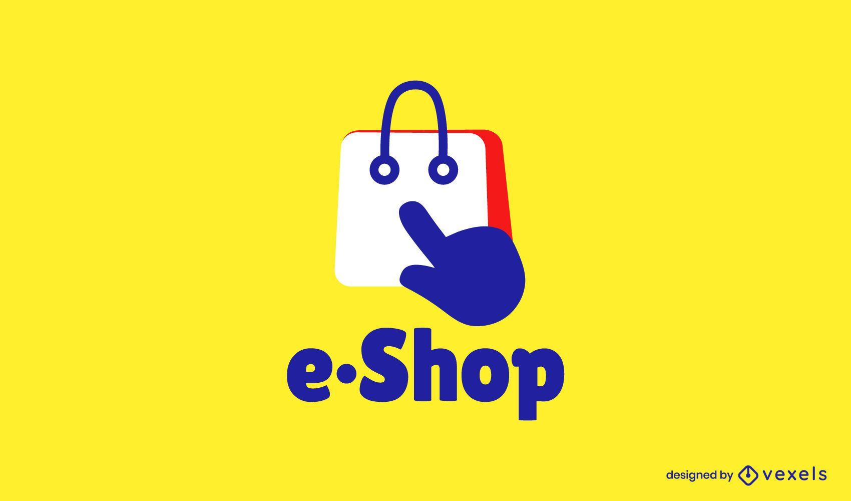 Compras en línea diseño de logotipo plano.