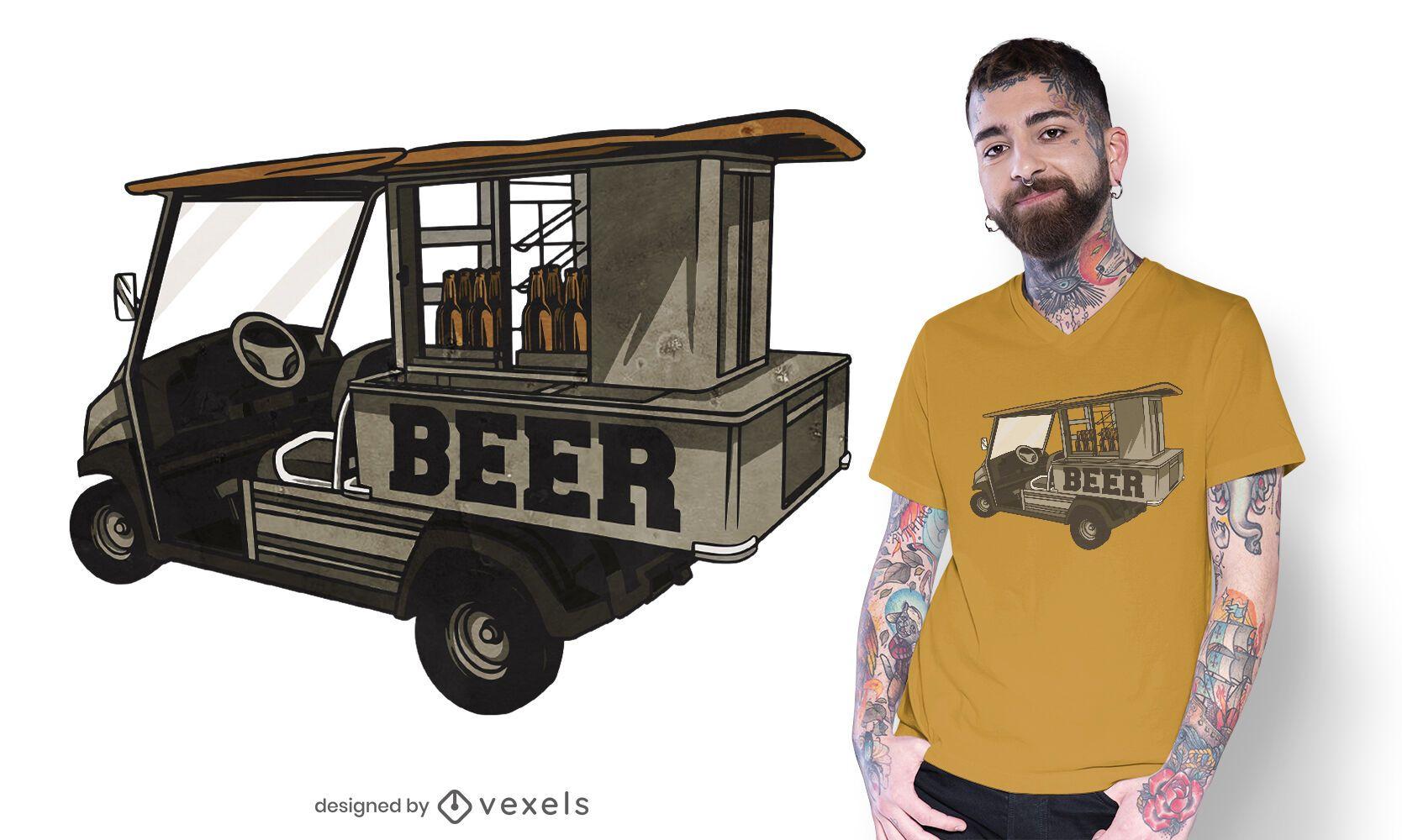 Diseño de camiseta de cerveza de carrito de golf.