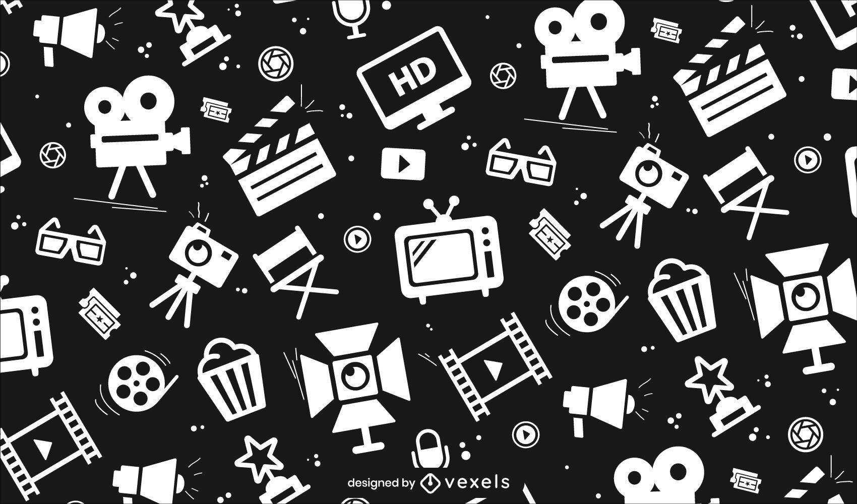 Padrão sem emenda de ícones de filme