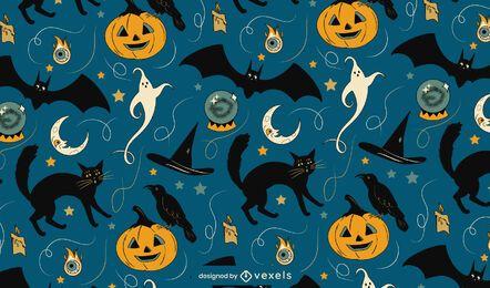 Diseño de patrón de elementos espeluznantes de Halloween