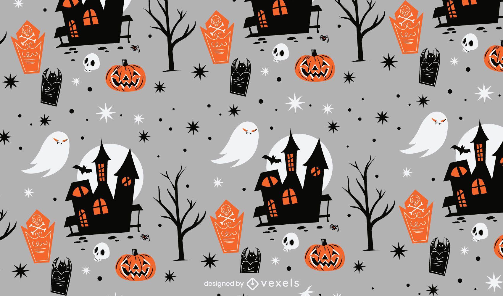 Diseño de patrón de castillo encantado de Halloween