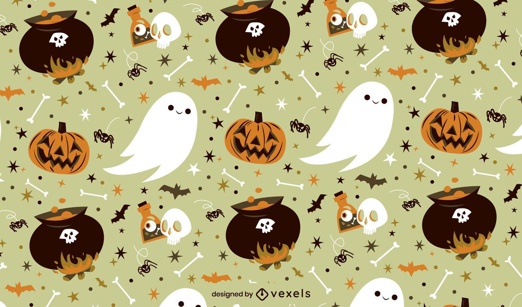 Diseño de patrón espeluznante de pociones de Halloween