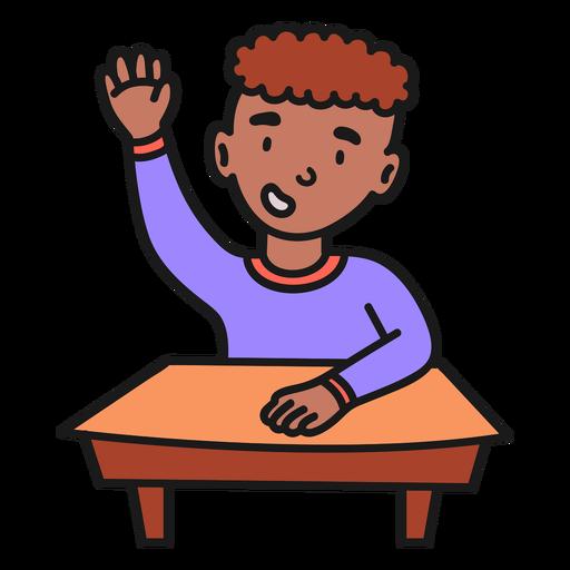 Boy raising hand color stroke