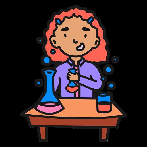 Scientist girl color stroke