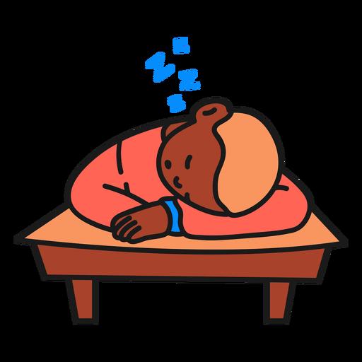 Sleeping boy color stroke