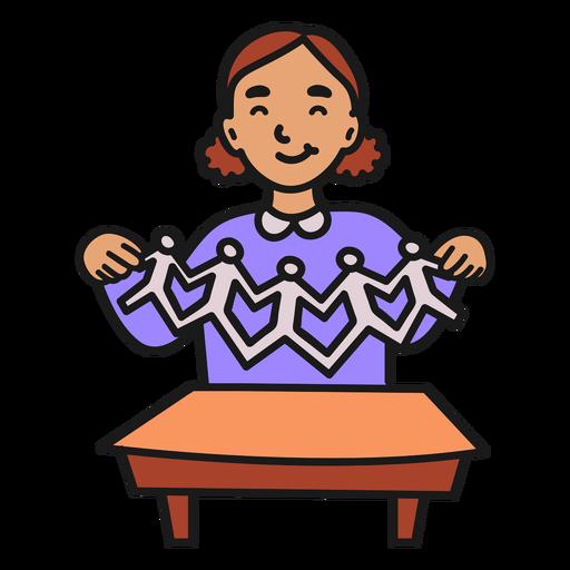 Girl making paper figurines color stroke