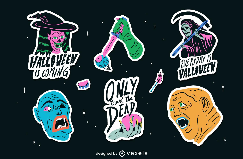 Conjunto de adesivos assustadores de Halloween