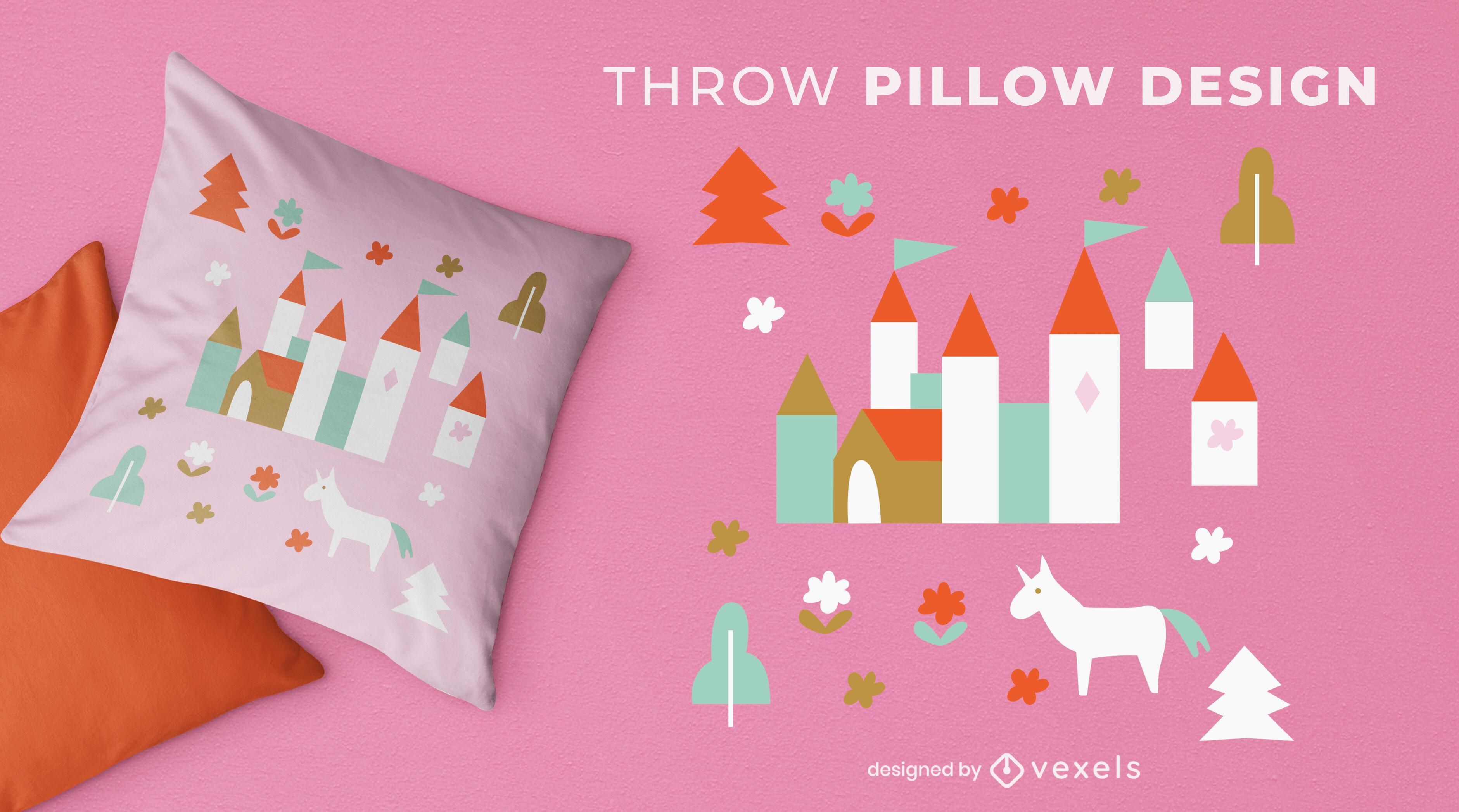 Diseño de almohada de tiro de princesa bebé