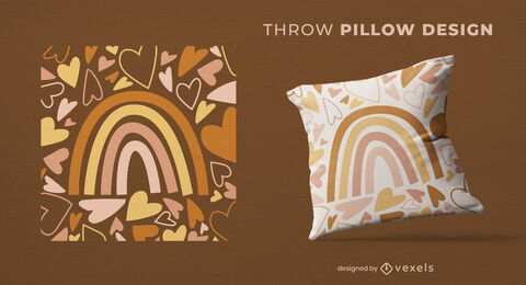 Muted rainbow flat throw pillow