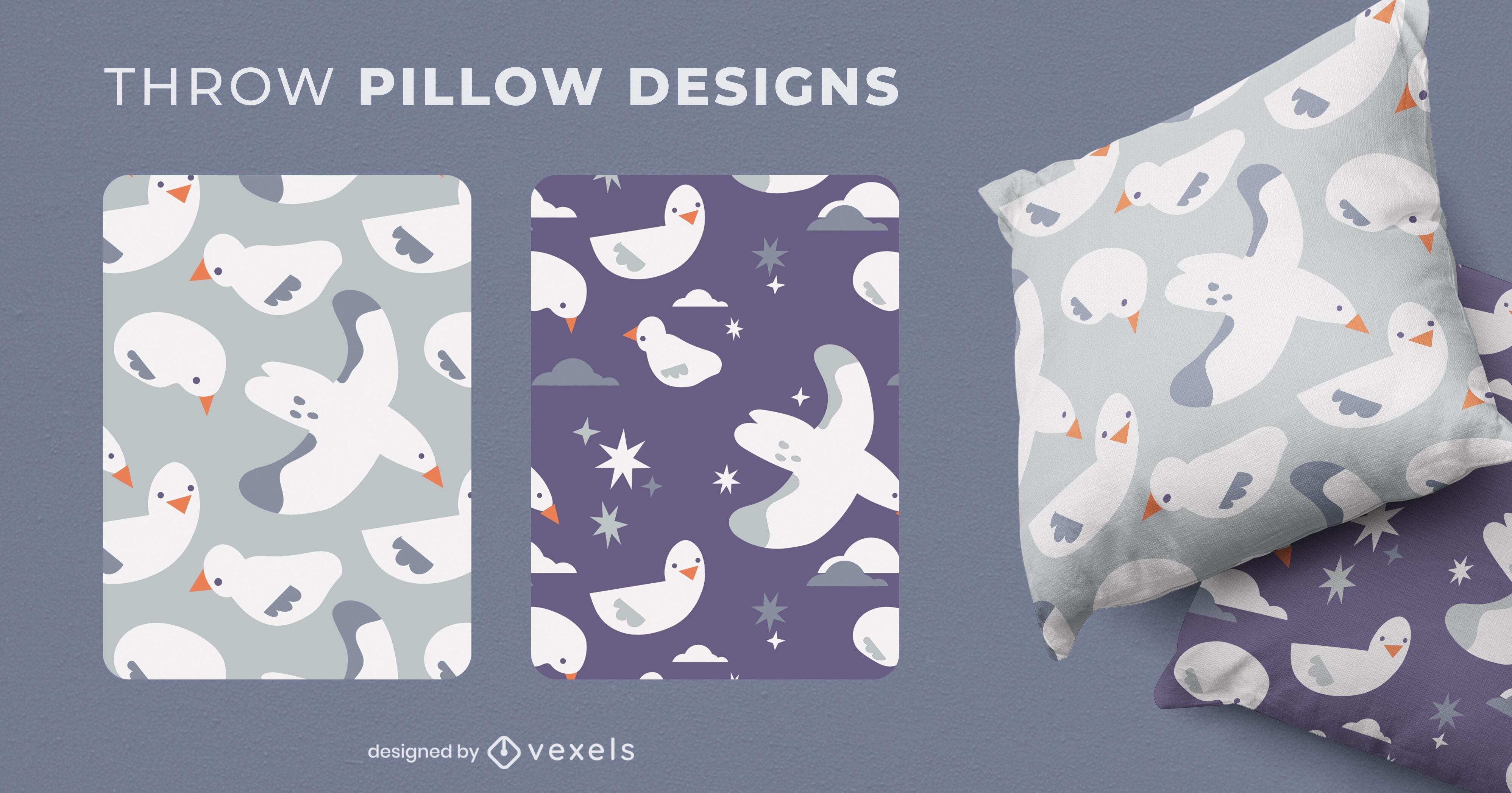 Desenhos de almofadas para bebês com gaivotas