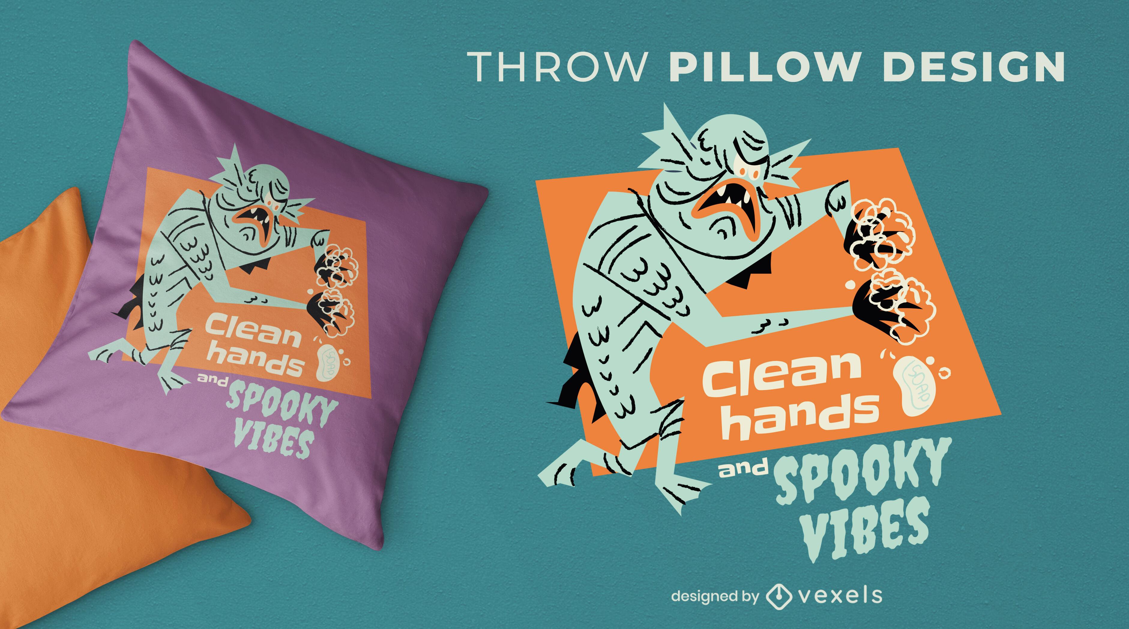 Design de travesseiro decorativo de halloween da Covid