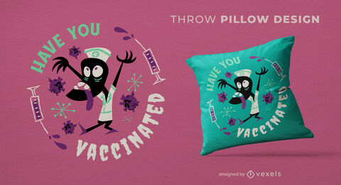 Vaccine monster halloween throw pillow