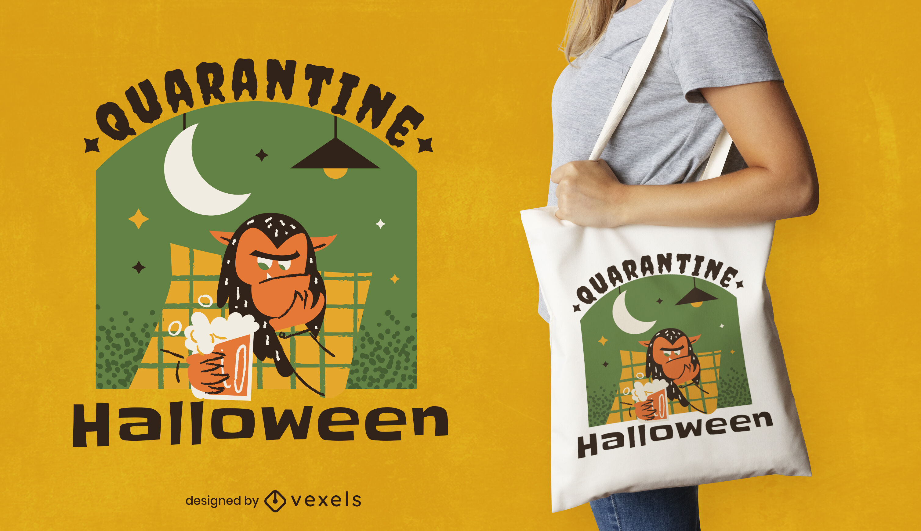 Quarantine monster halloween tote bag