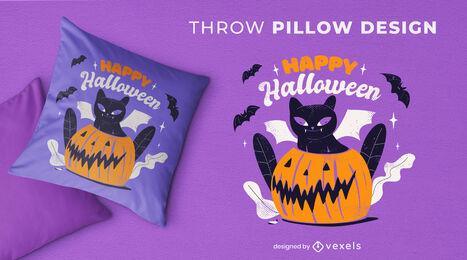 Black kitten halloween throw pillow
