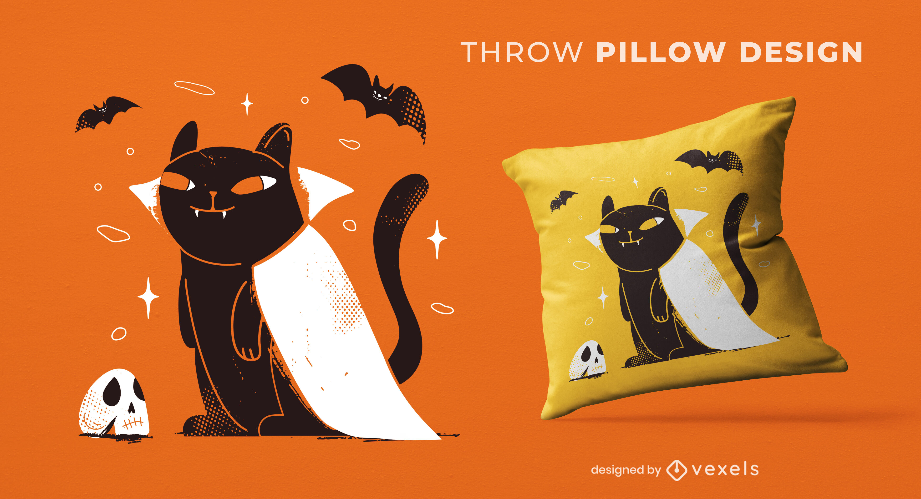 Black Halloween Cat Vampire Thorw Pillow Design