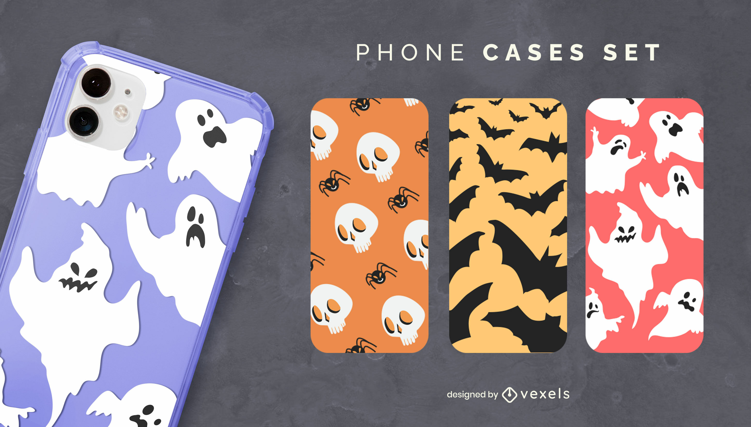 Conjunto de capa de telefone assustadora de Halloween