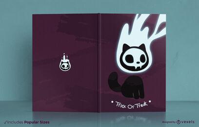 Diseño de portada de libro de espíritu de gato de Halloween