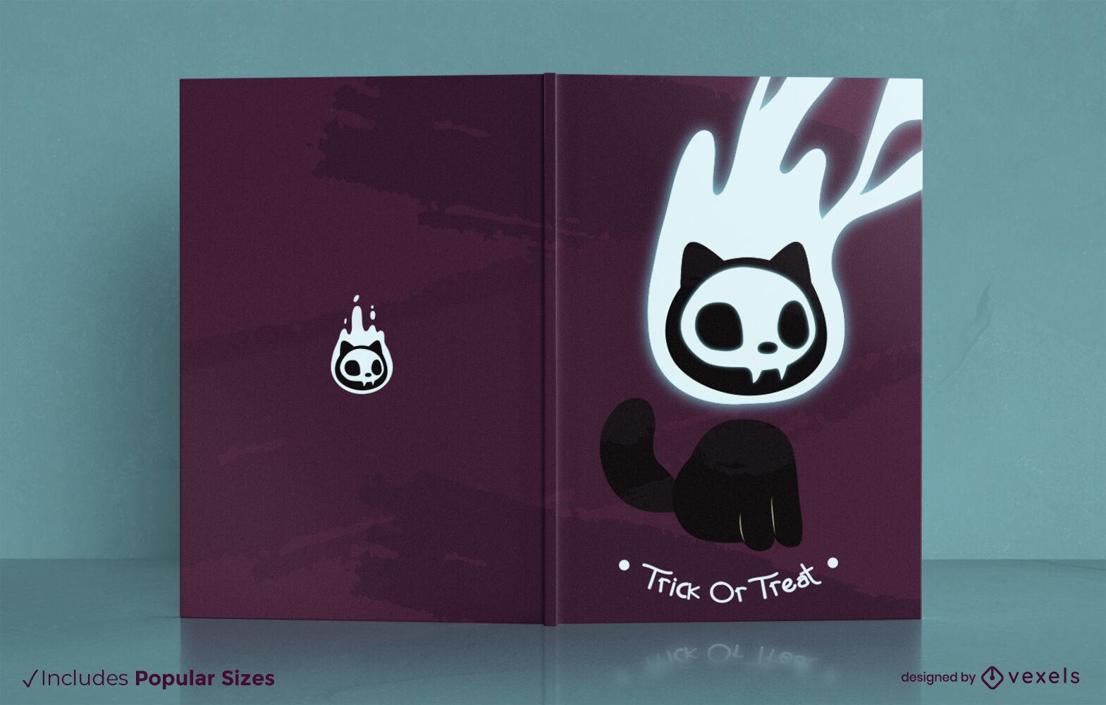 Design da capa do livro do espírito do gato Halloween