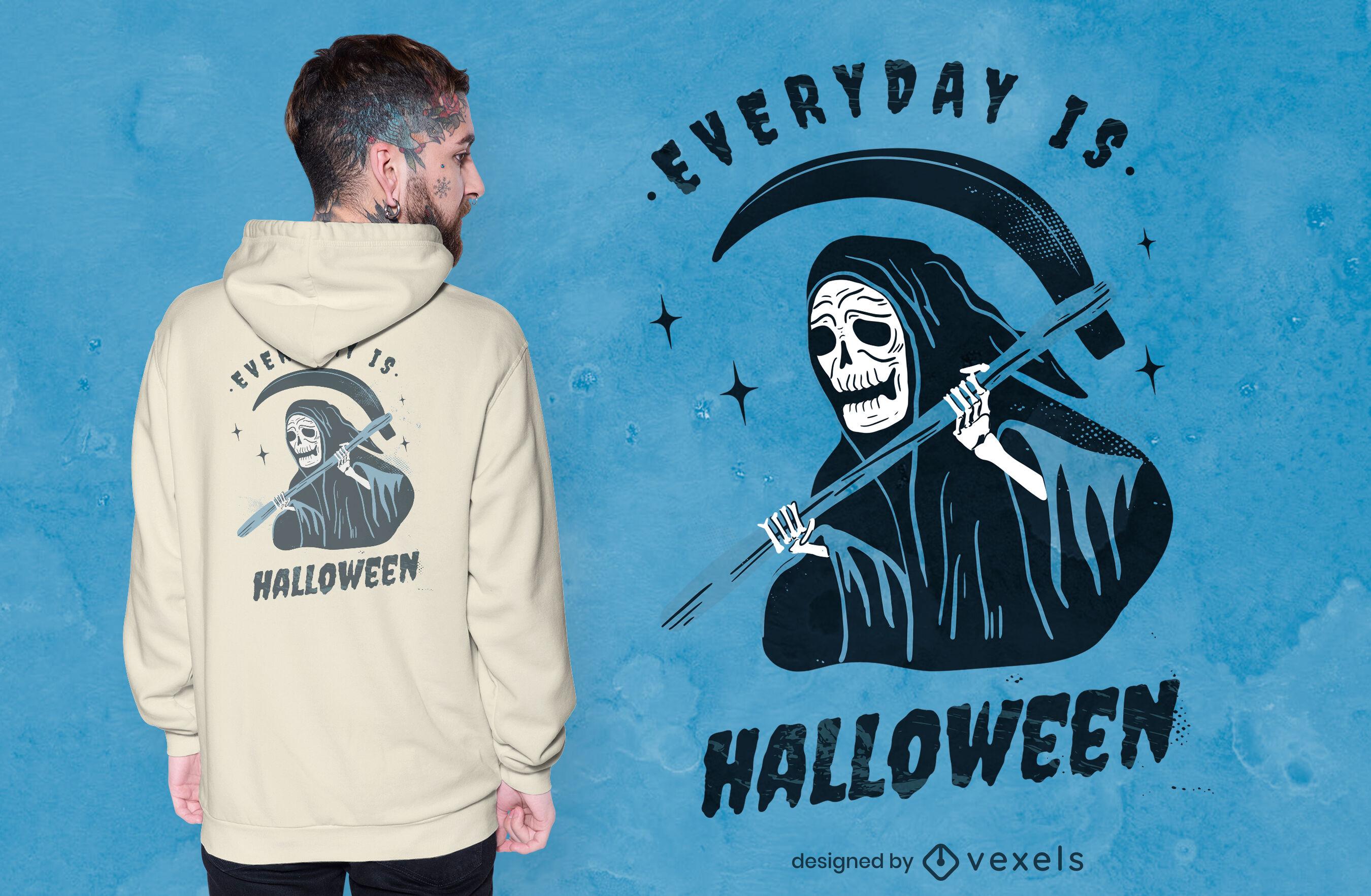 Design de camiseta do Dia das Bruxas da morte do Ceifador