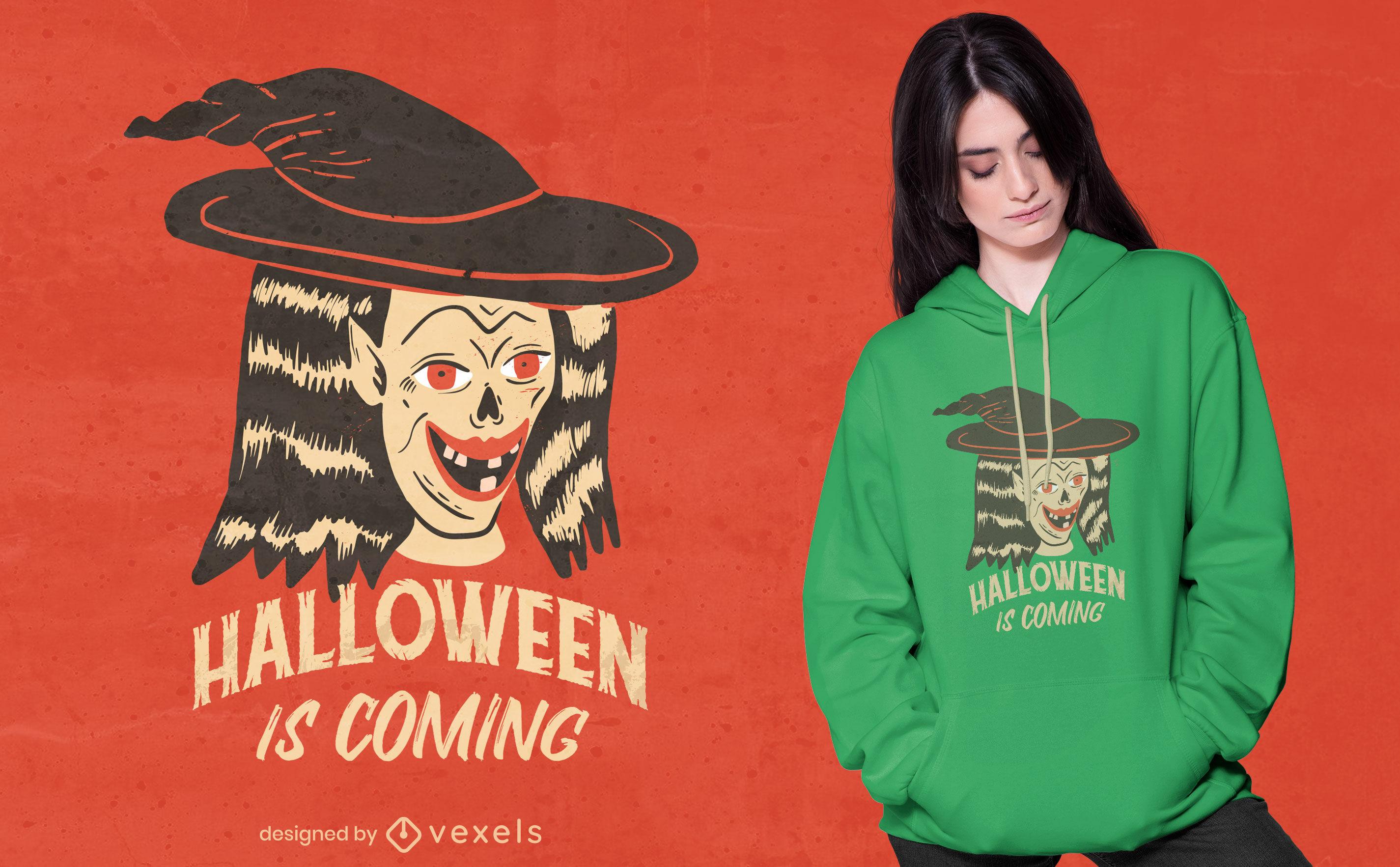Diseño de camiseta de criatura bruja de Halloween