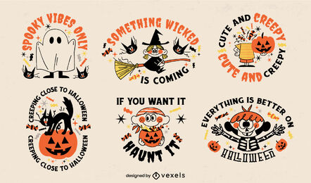 Cute set of halloween badges retro cartoon