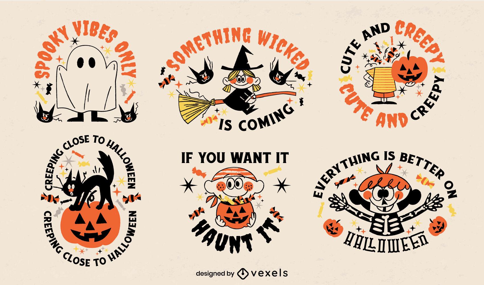 Lindo conjunto de dibujos animados retro de insignias de halloween